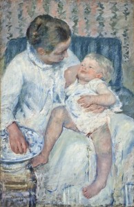CASSATT,  MARY_MOTHER ABOUT TO WASH HER SLEEPY CHILD_1880