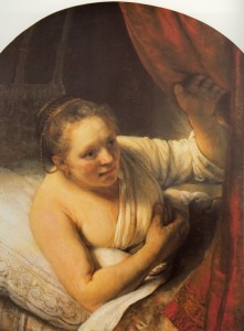 Rembrandt van Rjin, 'Sarah waiting for Tobias'